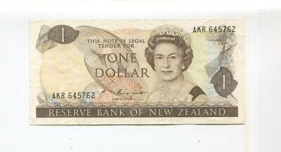 Reserve Bank Of New Zealand $1 Dollar Knight banknote note F-255