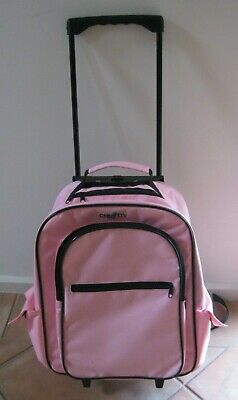 ~Cre8Tiv~ Pink Craft Trolley-Rolling Bag-Extendable Handle-5 Compartments-Used