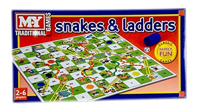 Family Kids Snakes and Ladders Board Game Traditional Children Games Play Set