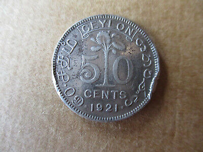 1921 Ceylon 50 Cent coin