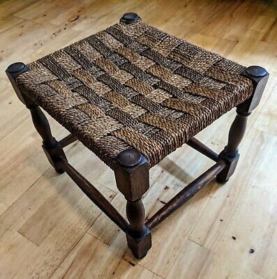 Rush Seated Vintage Small Wooden Oak Stool