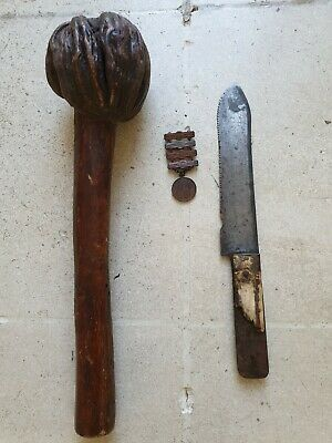 Rarest Antique MOHICAN war club (1860), plus sharpshooter medal (1890) and knife