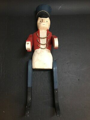 Vintage Military HANDMADE carved man Soldier Statue Wood primitive Rare Unique