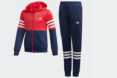 Kids Adidas hooded Tracksuit set Age 13 - 14 jacket top pants red sports NEW