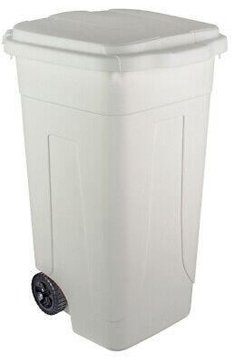 Barrel Fillers Bin Waste Bin L 80 with Wheels White