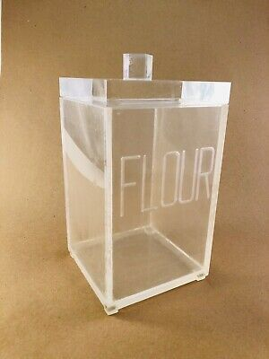 """Vintage Lucite Flour Container, Acrylic Clear 10.5"""" Mid Century Modern MCM"""