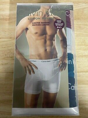 100% New Calvin Klein Cotton Stretch Boxer Briefs Sz M LIMITED EDITION 4-Pack