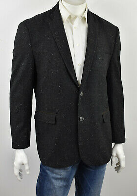 JOSEPH ABBOUD Charcoal Donegal Tweed 2-Btn SLIM FIT Elbow Patch Sportcoat XL