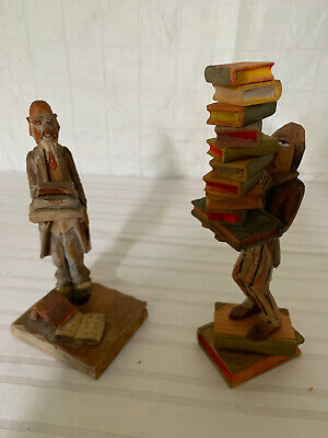 Vintage Wood Carved Figurines - Librarians - TRYGG style