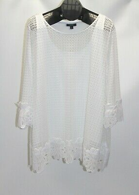 New Alfani Women's Plus Size 3X White Lace Overlay Tunic Top