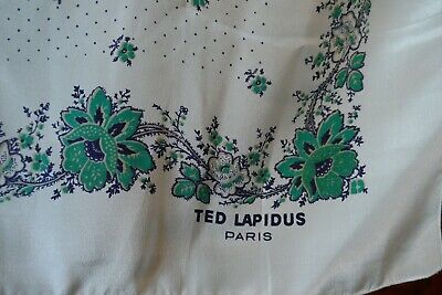 Beautiful Floral Art Scarf, Silk Scarf by Ted Lapidus