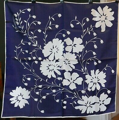 1970s Vintage Heavy Silk Floral Scarf Navy and White