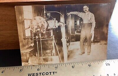 Postcard Fairbanks Morse Model N Gas Engine 40 HP ? Hit Miss Old Farm RPPC Oil