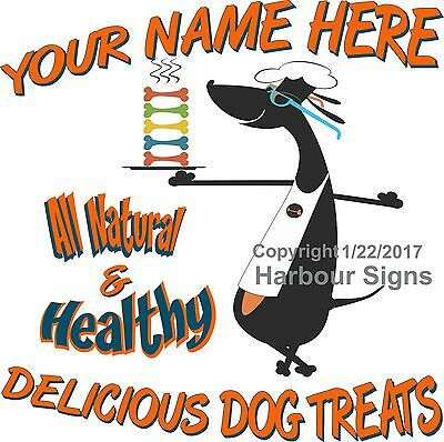 Custom Dog Treat Business Vinyl DECAL (Choose Your Size) Natural Healthy Truck
