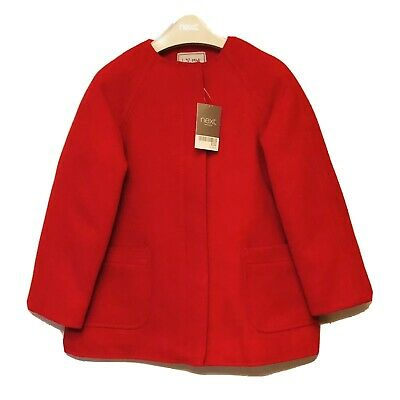 Next Red Girls Coat Fleece Lined Brand New With Tags 5-6yrs