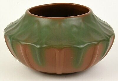 Van Briggle Pottery Large Bowl With Leaf And Bud Decoration