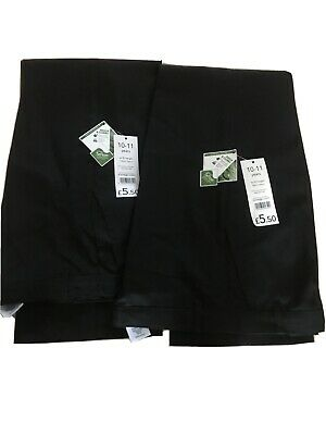2 Pairs Boys George School Trousers BNWOT Black Age 10-11