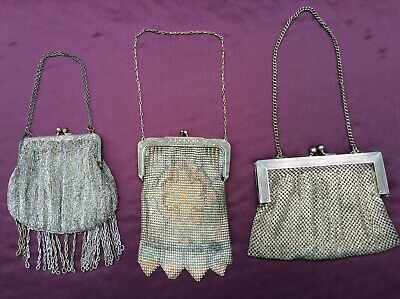 Lot of 3 Vintage/Antique Silver Chain Mesh Purses, French, German.