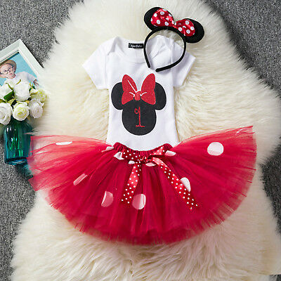 Baby 1st First Birthday Minnie Mouse Dress Romper Tutu Skirt Headband Outfit