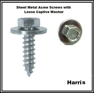 """1//2/"""" Acme self Drilling tapping screw.Hex head 7mm 8mm 10mm With captive washer"""