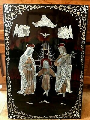 Chinese Mother Of Pearl Lacquer Wood Picture Panel HOLY FAMILY CHAIN TANG CRANG