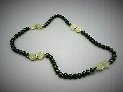 Fine Old Chinese Carved Green And White Jadeite Jade Bead 14K Gold Necklace