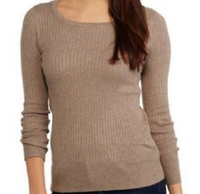 Womens Ribbed Sweater L Pullover Heather Tan Beige Scoop Neck FADED GLORY