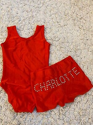 Girls Red Leotard And Shorts Personalised CHARLOTTE Age 4-5 Years