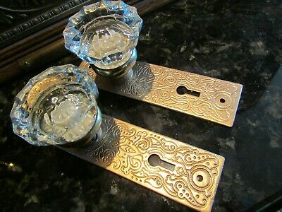 Antique Door Hardware: Russell & Erwin Cast Iron Backplates + Crystal Knobs