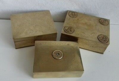 3 Antique Chinese Brass Hand Engraved Cigarette Box. Symbols.