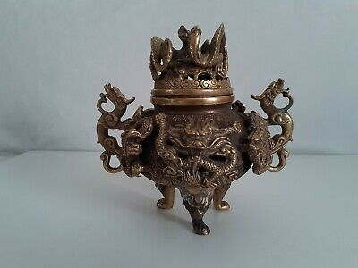 Antique Chinese Bronze Brass Dragon Tripod 3 Leg Incense Burner