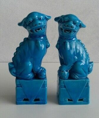 Vintage Chinese Turquoise Blue Temple Guardian Foo Dog Lion Figurines