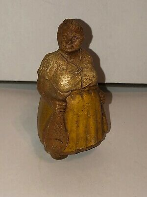 Antique Folk Art Hand Carved Wood Fish Fishwife Merchant Art Figure 18th Century