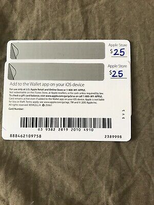 Apple $50 Gift Card(2-25$ Gift Cards)