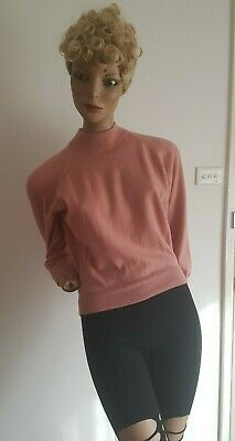 VINTAGE 80s 90s PURE NEW WOOL Pink L/S Sweater Pullover Size 12-14/M-L