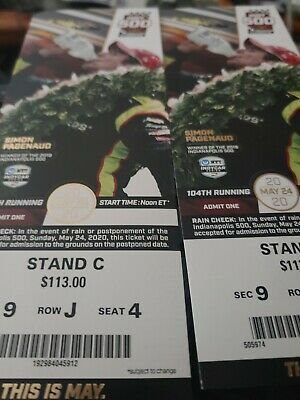 Two 2020 Indy 500 Tickets Great seats FRONT STRETCH ACROSS FROM THE PITS