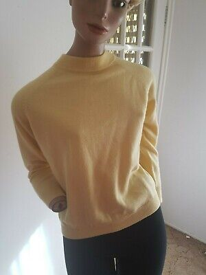 VINTAGE 80s 90s PURE NEW WOOL Light Yellow L/S Sweater Pullover 12-14-16/M-L