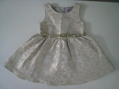 F&F Kids Baby Toddler Girls Gold Floral Prom Party Dress & Belt - 18-24 Months