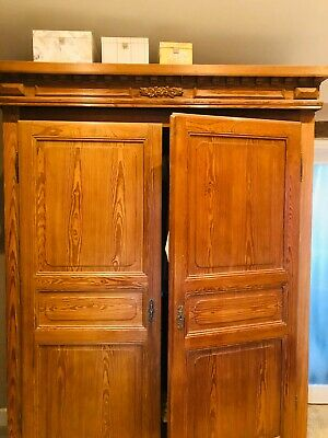 Large Double Antique Pine Wardrobe