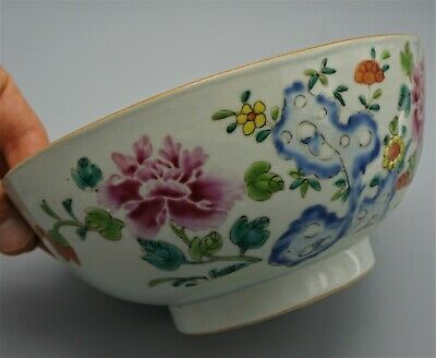 19Th C Antique Chinese Fine Large Famille Rose Bowl With Floral Design
