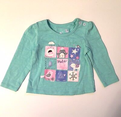 Sainsburys Tu Baby Girls Xmas Penguins Winter Jumper Top - Up To 3 Months