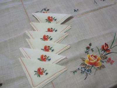 Vintage linen tablecloth embroidered roses 6 serviettes 122 cm square 48 inch