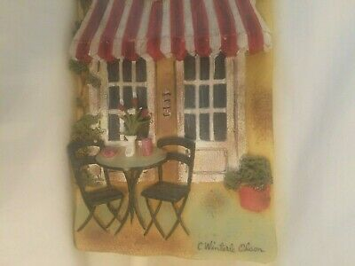 Art Work by C. Winterle Olson Wall Hanging Plaque Outdoor Bistro France 3D Resin
