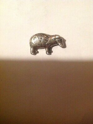 VINTAGE signed MMA Egyptian Hippo BROOCH Pin SILVER-PLATED Museum of Modern Art
