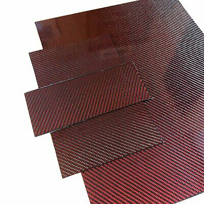 (4) Red Carbon Fiber Plate - 100mm x 250mm x 2mm Thick - 100% -3K Tow, Plain...