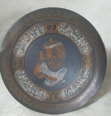 Antique Copper Wall Plate Plaque Inlaid Silver Ancient Egyptian Dancer 19th Cen