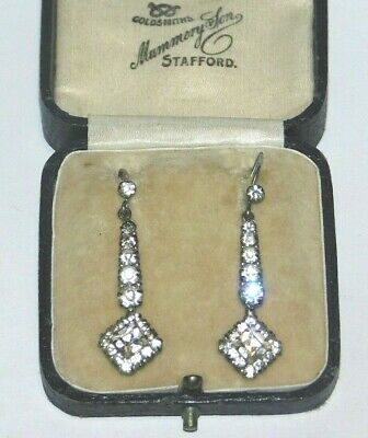 Antique 1920's Art Deco Geometric Diamond Paste Drop Hook Vintage Earrings