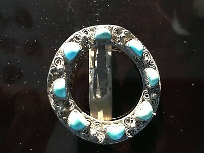 Antique Chinese Export Silver &  Polished Natural Turquoise Shawl Pin Victorian