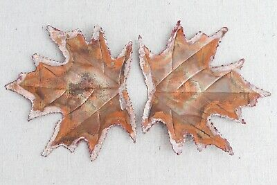 """2 Vintage Mid Century Modern Curtis Jere Style Torch Cut Copper Maple Leaves 6"""""""