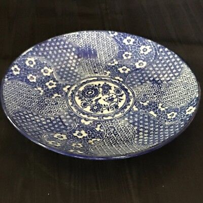 VINTAGE ANTIQUE CHINESE or JAPANESE  BLUE AND WHITE EXPORT PLATE